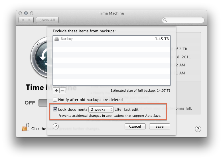 Use Time Machine System Preferences to alter Lock settings