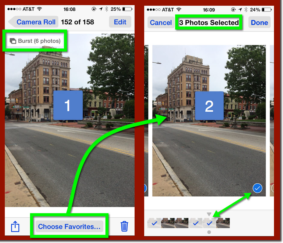 Two iPhone screens in the Photos App reviewing Burst Mode images