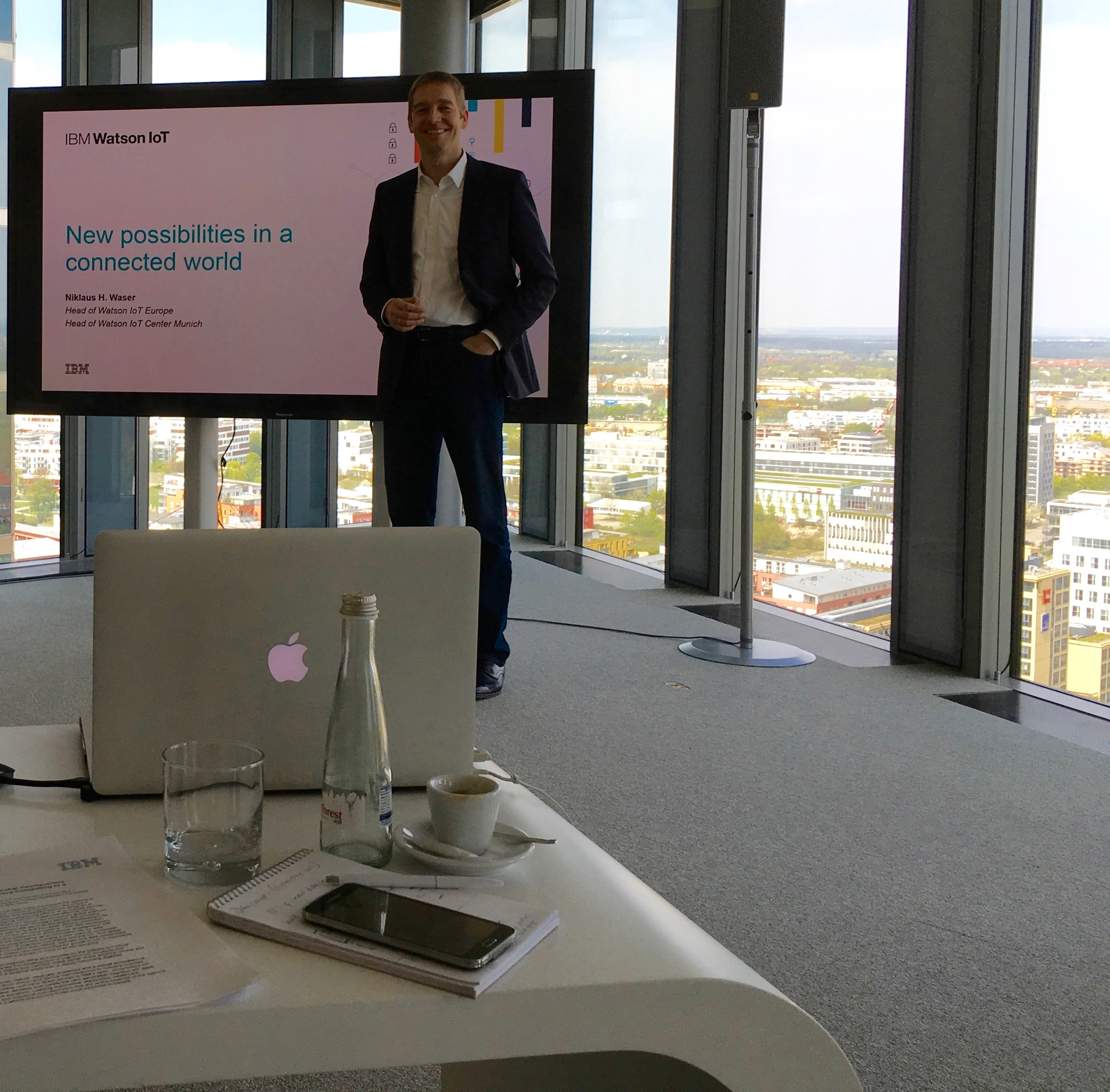 I know Apple and IBM are friends and partners today, but I still got a kick out of watching the the head of Watson IoT Europe using his Macbook for this presentation.