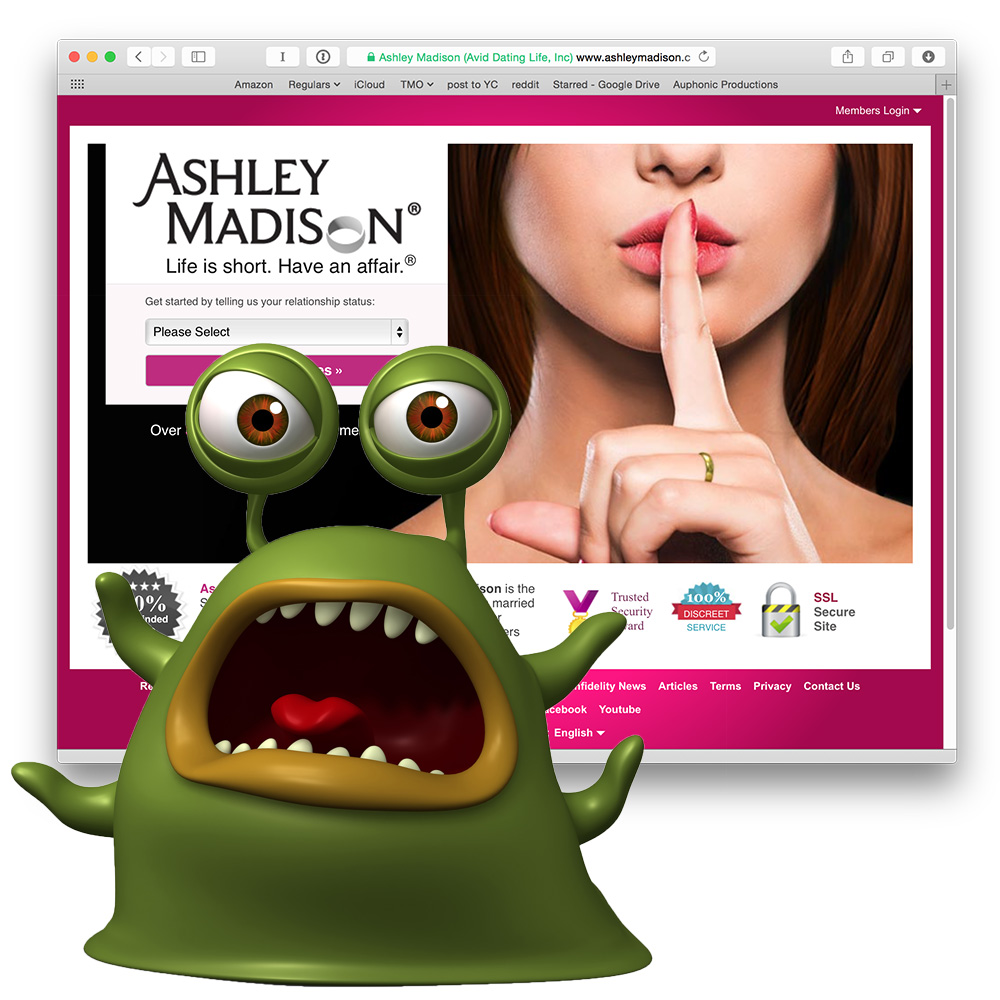 User data from affair site Ashley Madison was stolen. So that's awkward.
