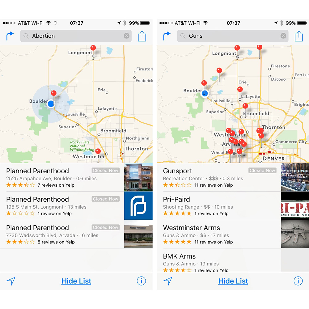 Abortion search or gun search: both show accurate results in Apple Maps