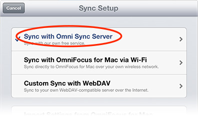 The Mac and iOS versions of OmniFocus include Sync Server settings