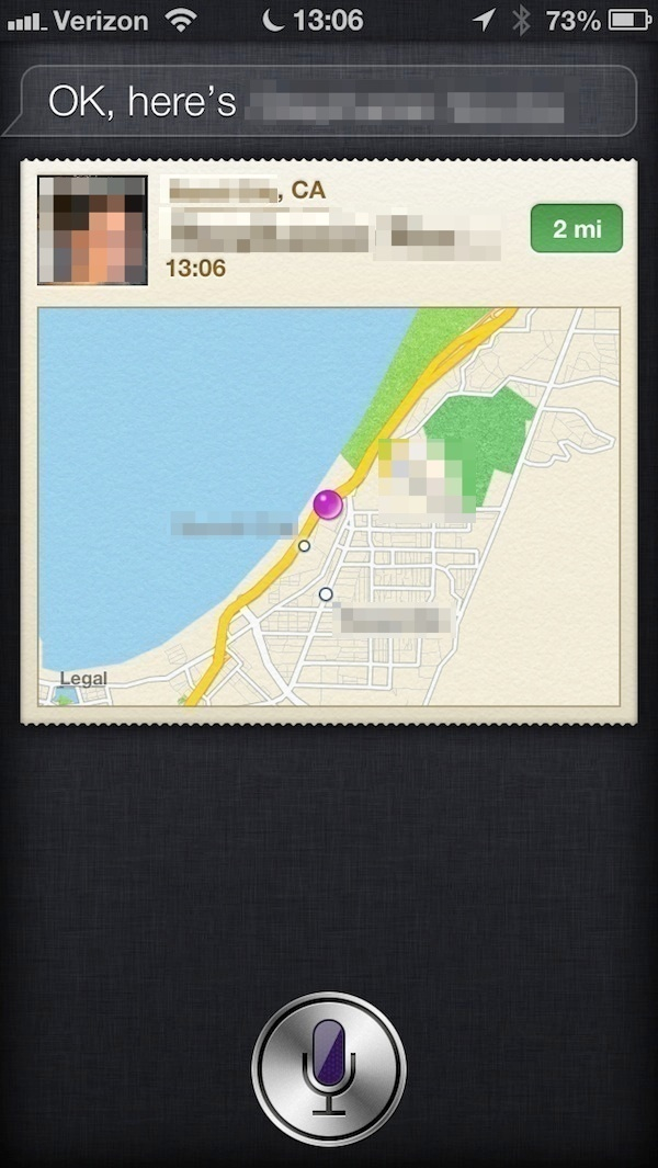 Siri's results showing my wife's location