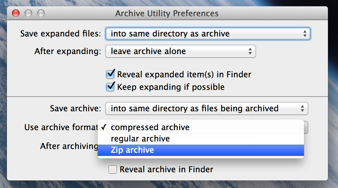 Archive Utility preference file type output dialogue
