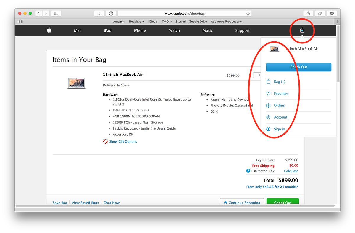 Your shopping bag (not cart) shows what you want to buy and order status