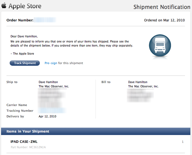 iPad Case Shipping Notification