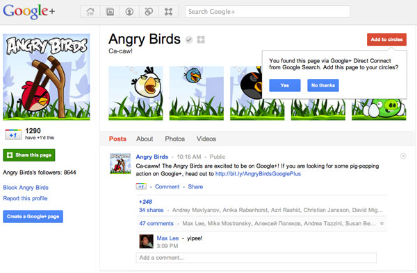 Google+ page for Angry Birds