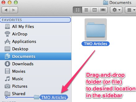 Drag-and-dropping a folder to the Finder window sidebar.