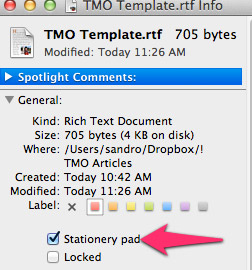 The file Get Info panel showing the Stationery Pad checkbox.