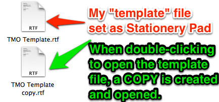 Two files shown in Finder. One is the template file created with the Stationery Pad attribute and the copy of the file that is created when opening the template file.