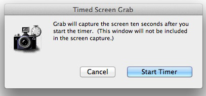 The Timed Screen Grab dialog in the Grab application.