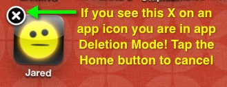 An app in Deletion Mode will show an X in the corner.