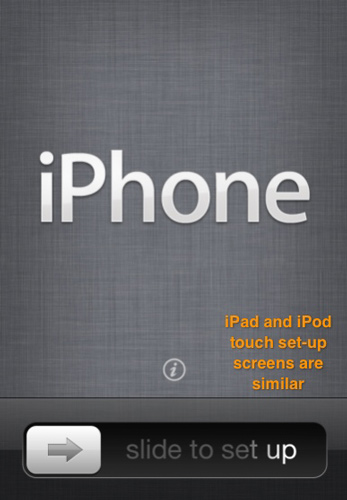 The set-up screen on a new iPhone.