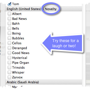A cutaway of the Customize pane showing the old Novelty Voices.