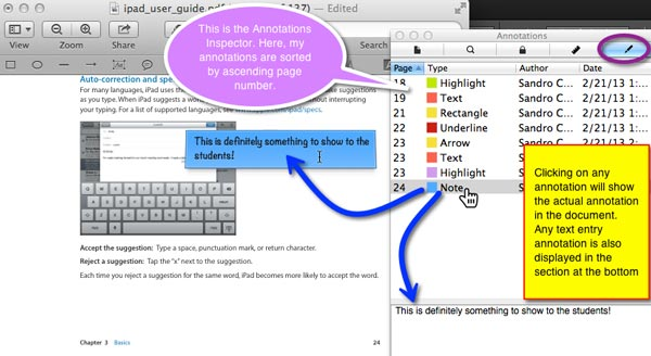 The Annotations Inspector panel lists all your annotations and allows you to navigate to them quickly.