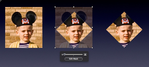 Three views of the same image � standard, with masking tools, with diamond mask applied.