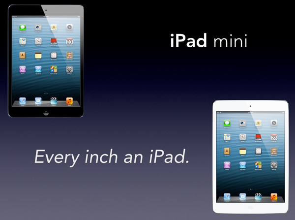 A Keynote slide with a black and a white iPad mini appearing in opposite corners.