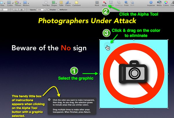A Keynote slide depicting an image as the Instant Alpha Tool is being applied to it.