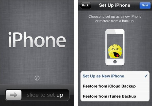 The iPhone welcome and configuration screens.