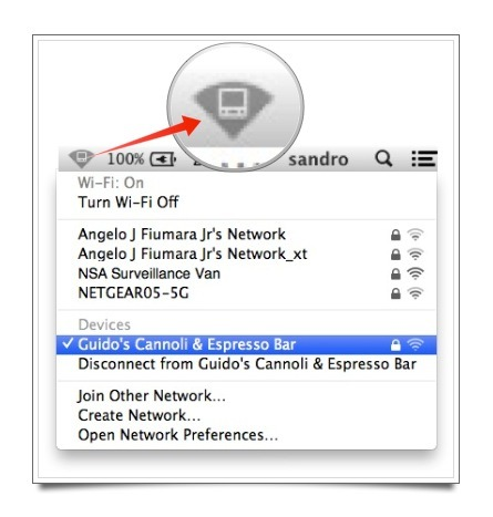 The Wi-Fi Status menu with the new ad-hoc network icon appearing in the menu bar.