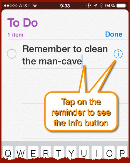 A To Do list in Reminders