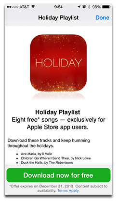 iPhone Apple Store App Offers Free Christmas Music