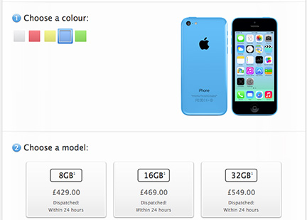 Apple adds 8GB model to iPhone 5C lineup