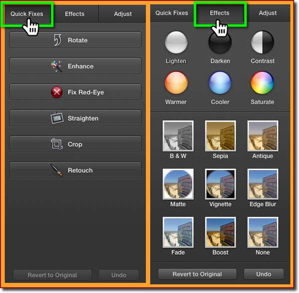 The Quick Fixes and the Effects edit panes when in Edit View in iPhoto