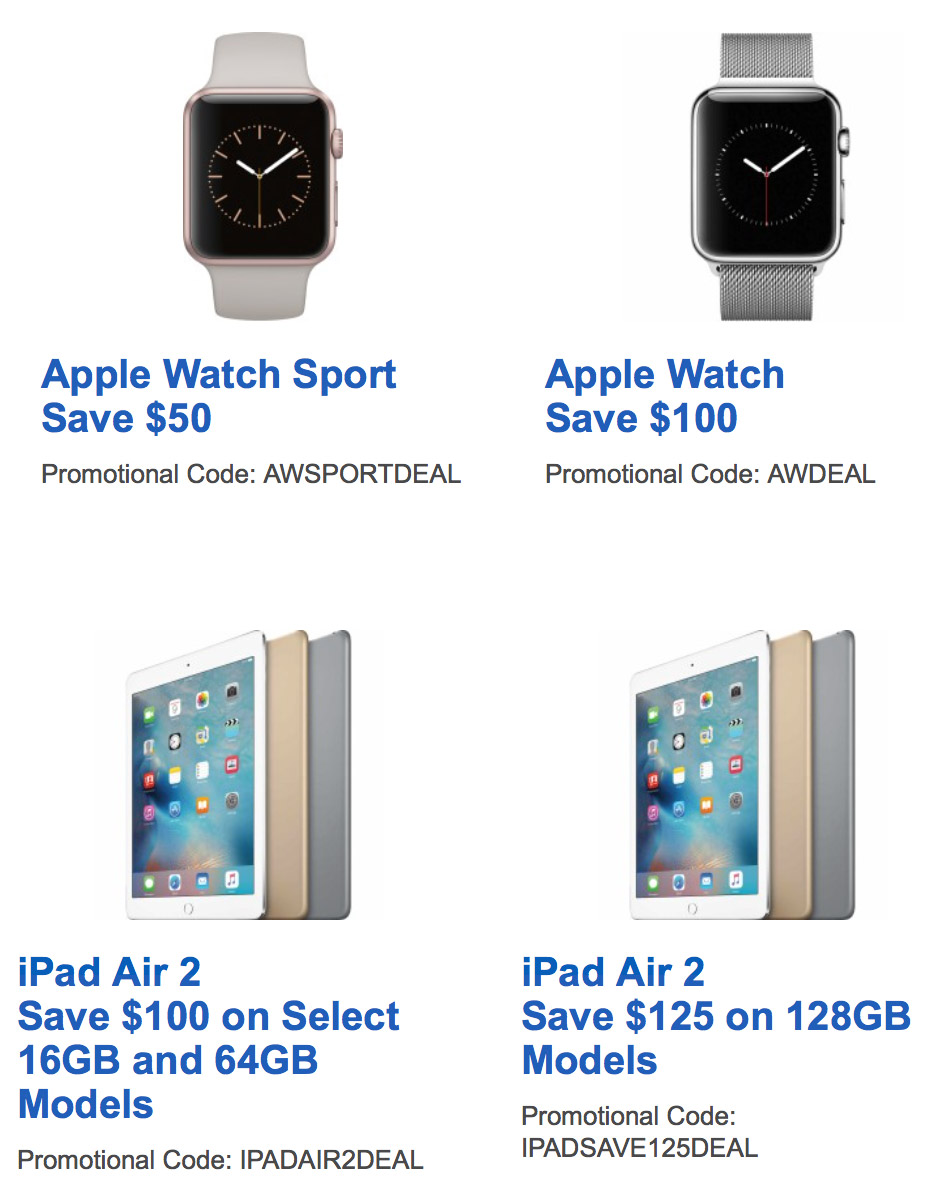$100 Off Apple Watch, $125 Off 128GB iPad Air 2, Today Only