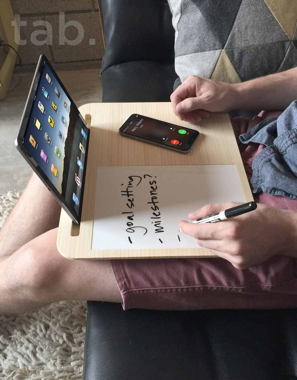 Tab LapDesk Has Writing Surface and Holds Devices
