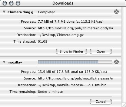 Screenshot of Chimerais download manager