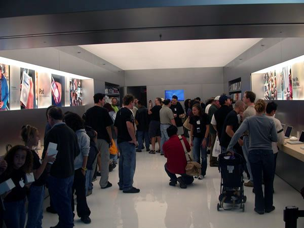 The Apple Store is packed.