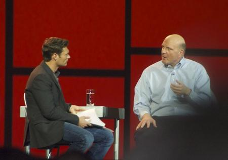 Steve Ballmer and Ryan Seacrest speaking.