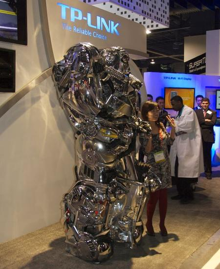 TP-Link was showing off a robot. It might have been someone in a robot suit. Hard to tell.