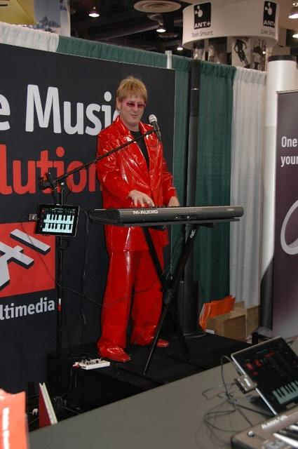 IK Multimedia had an Elton John impersonator on hand to entertain the crowd.