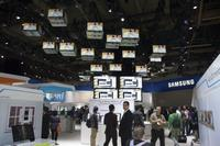 Samsung's booth was hopping. They had a very cool display of TVs up on the ceiling, though this pic doesn't do it justice.