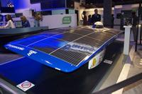 The solar car the company sponsors was also on hand.
