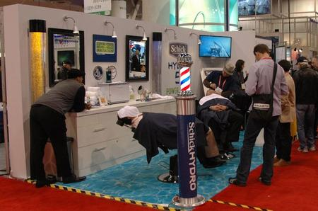 It's funny: Even at a trade show, there's always someone just hanging around at the barber shop...