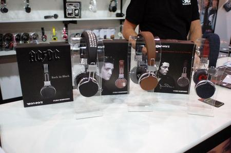 ON.EARZ Legends and Stars headphones. That's AC/DC, Elvis Presley, and James Dean.