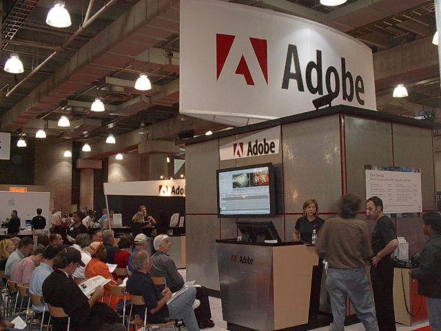 The Adobe booth was the same size as the Apple booth next to it