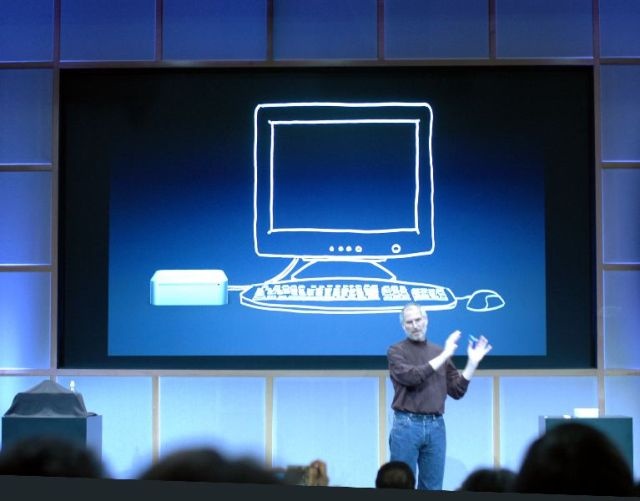 Illustrating the idea that the Mac mini will work with any mouse and keyboard.