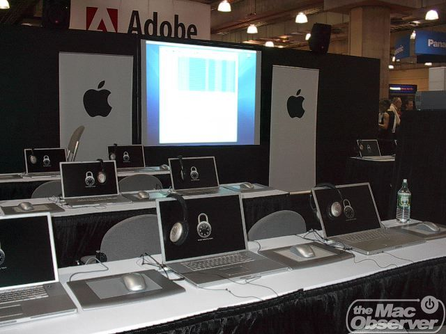 The Apple booth gave hands-on demos