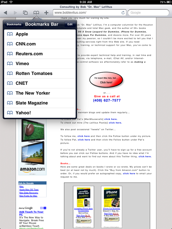 Safari app bookmarks overlay