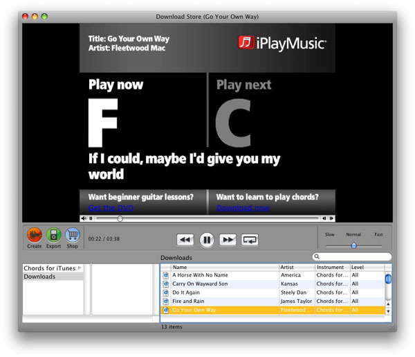Chords for iTunes Software