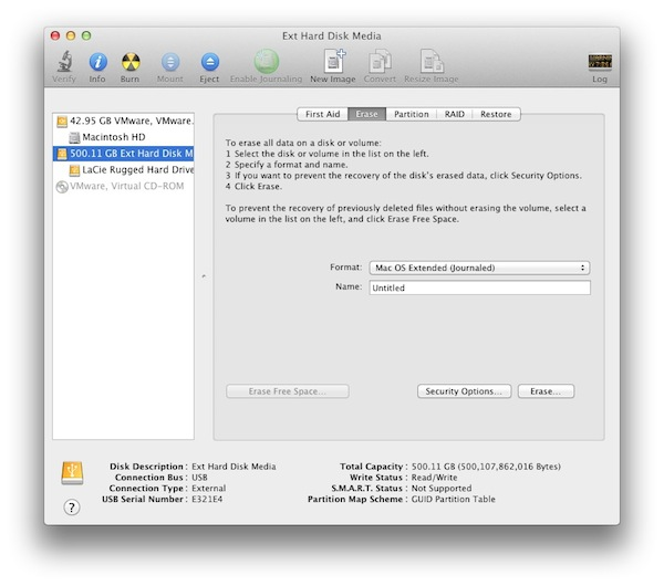 Select the Drive in Disk Utility