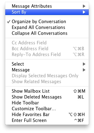 Mail View Menu Bar