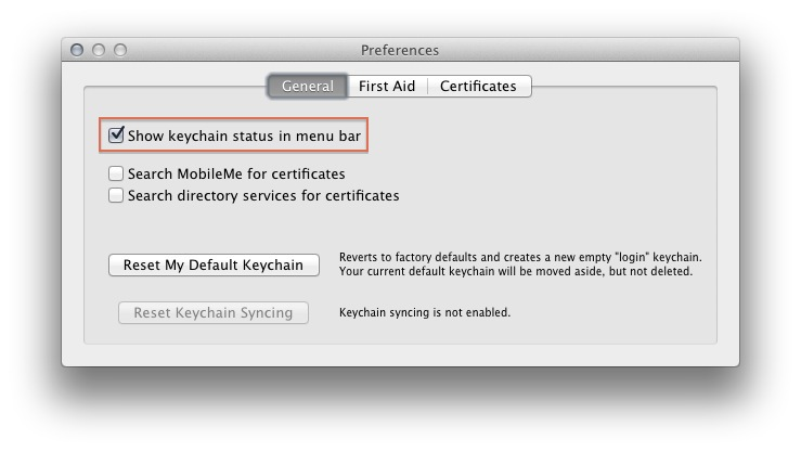 Keychain Access Preferences