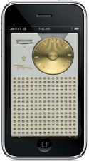 iPhone with image of a 60's style transistor radio.