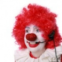 A telemarketer dressed like a clown.