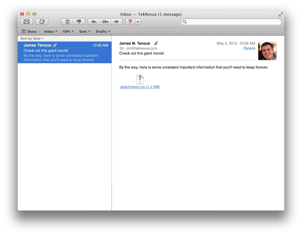 Remove email attachments from Apple Mail
